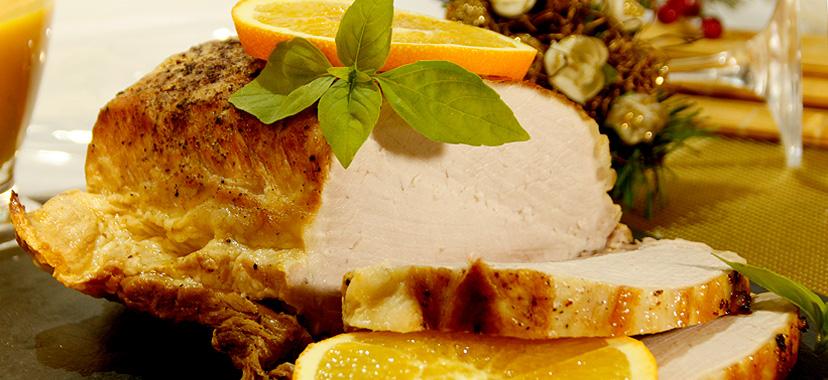 Lomo de cerdo a la sidra con salsa de naranja