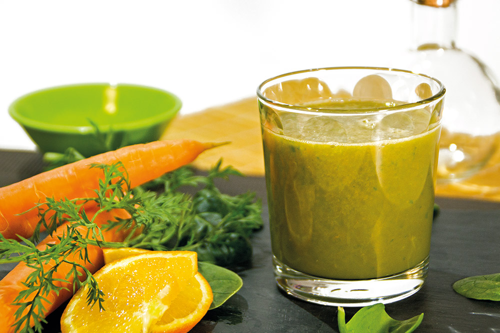 Zumo de naranja, zanahoria y espinacas
