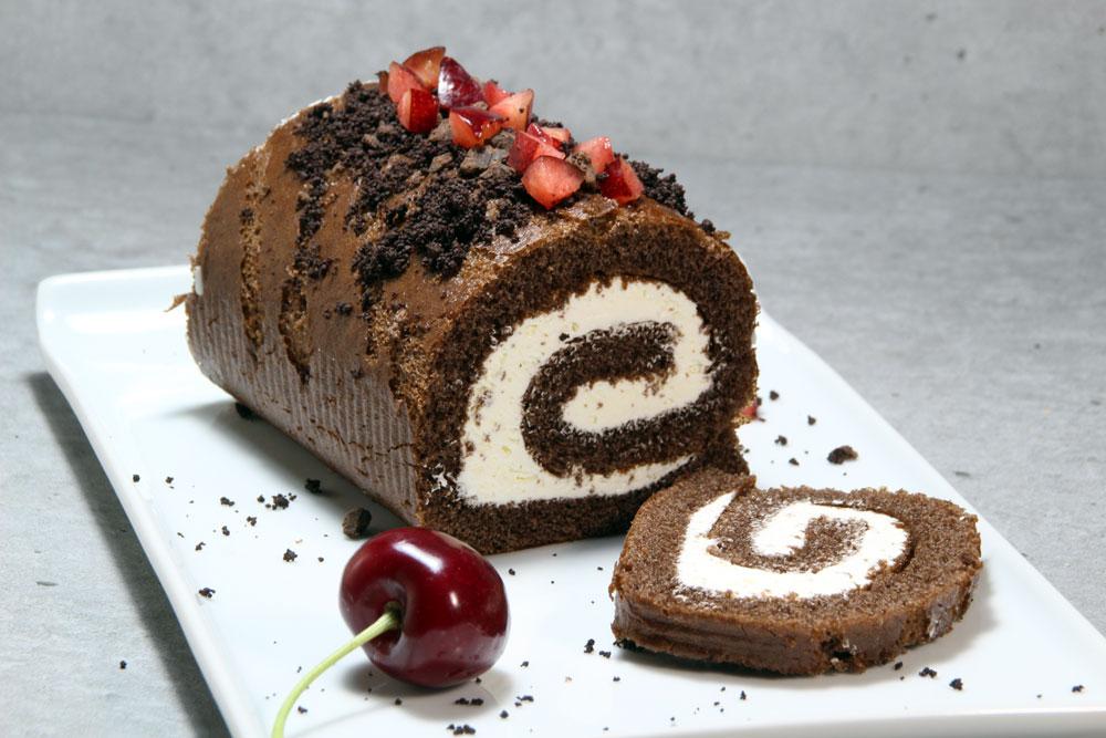 Bizcocho de café relleno de queso con chocolate